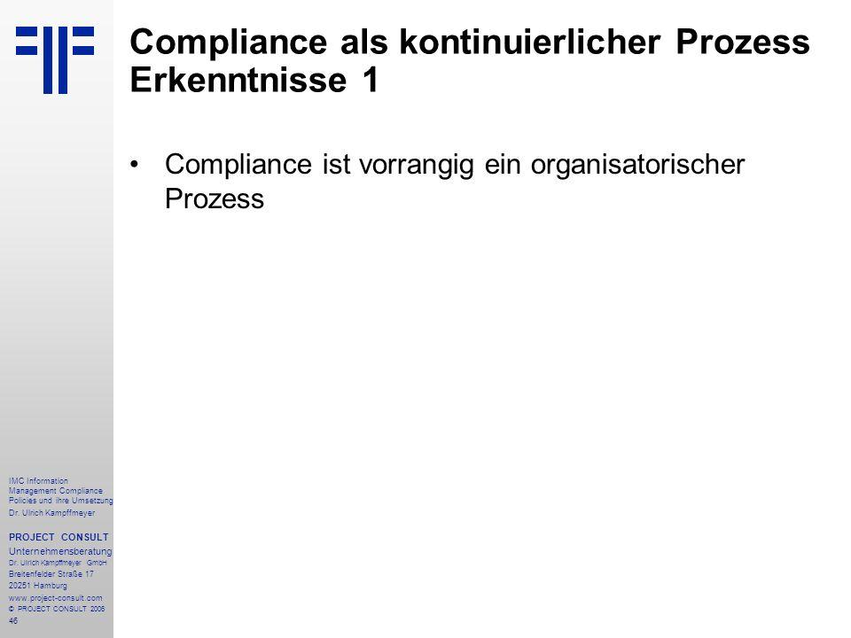 Compliance als kontinuierlicher Prozess Erkenntnisse 1