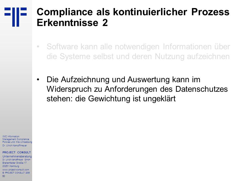 Compliance als kontinuierlicher Prozess Erkenntnisse 2