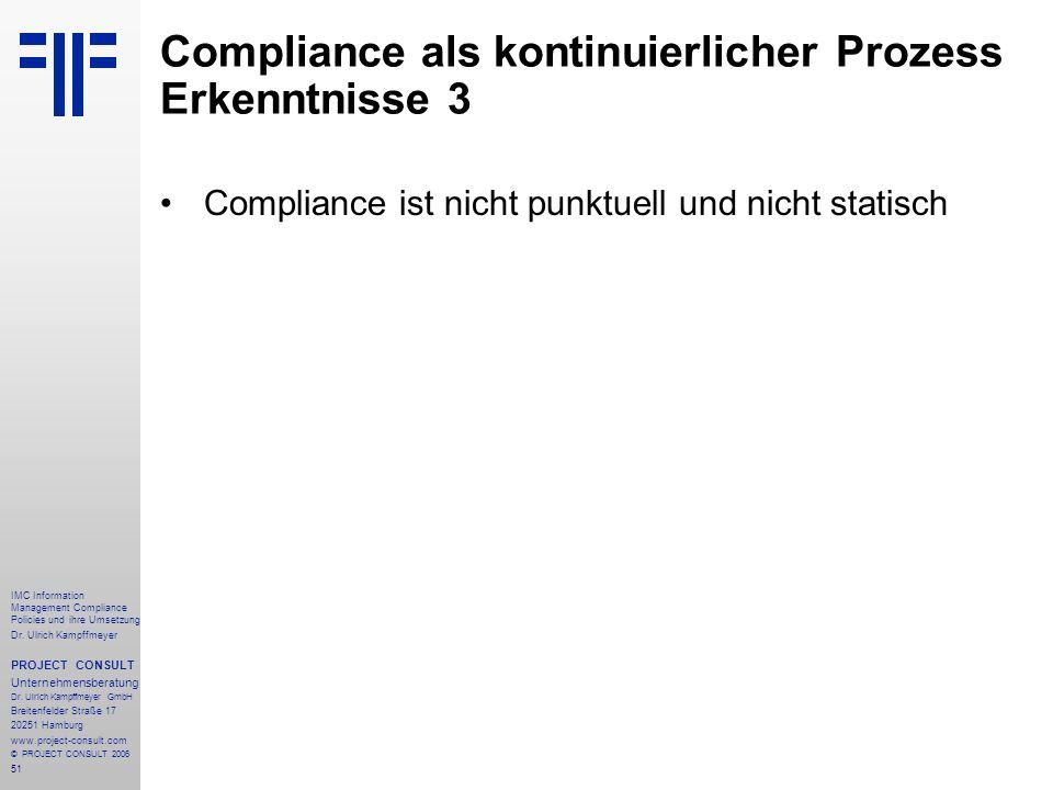 Compliance als kontinuierlicher Prozess Erkenntnisse 3