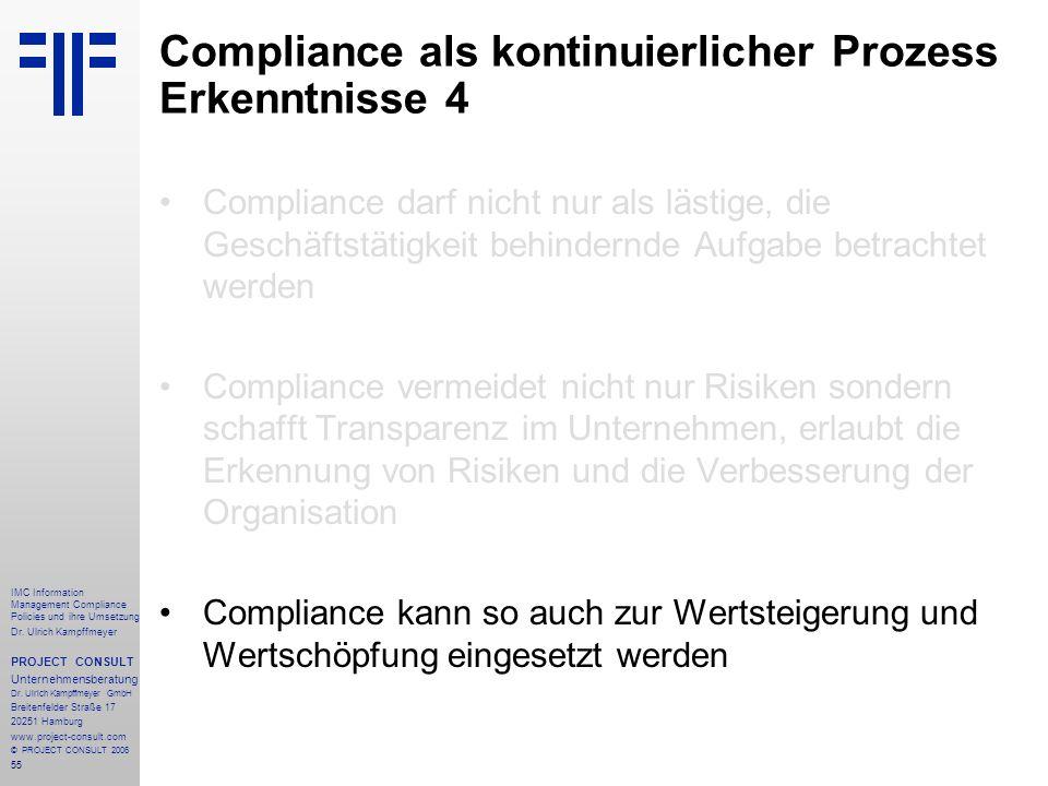 Compliance als kontinuierlicher Prozess Erkenntnisse 4