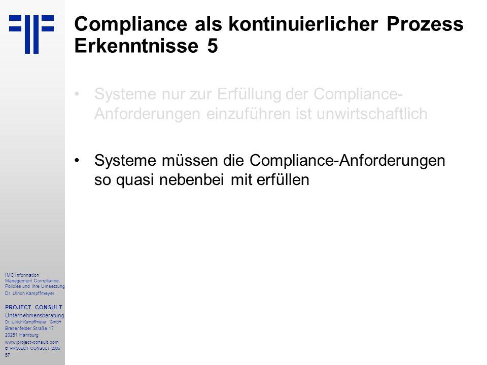 Compliance als kontinuierlicher Prozess Erkenntnisse 5