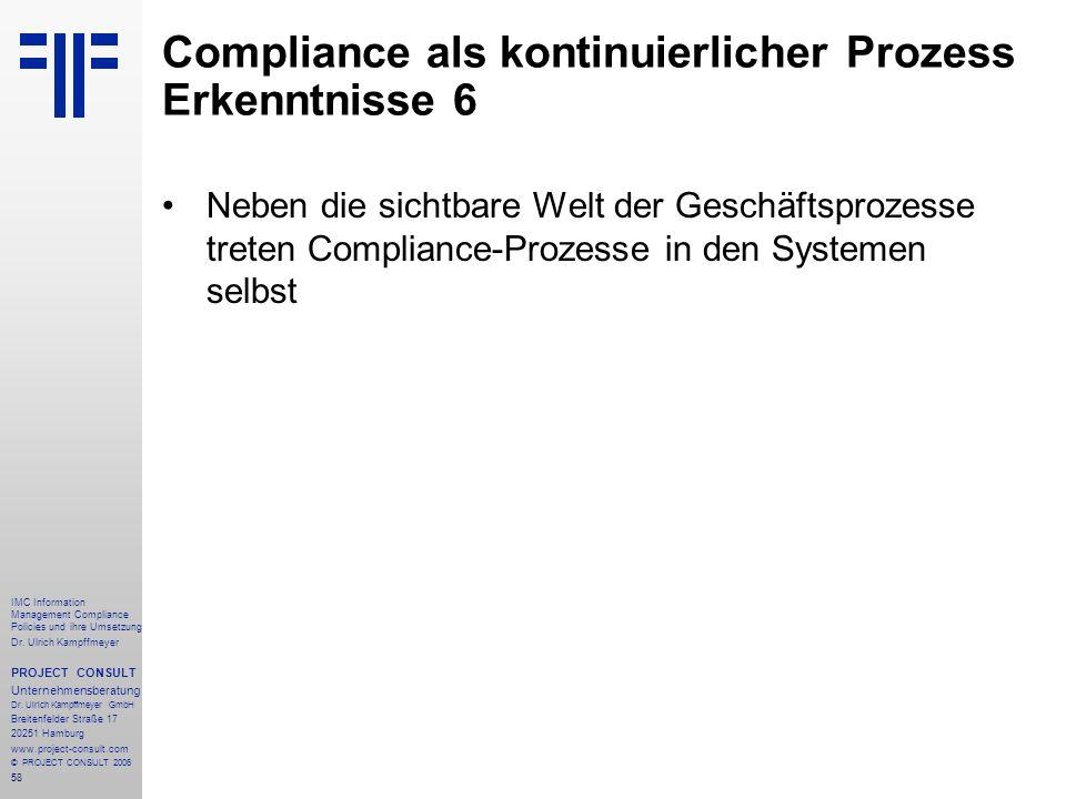 Compliance als kontinuierlicher Prozess Erkenntnisse 6