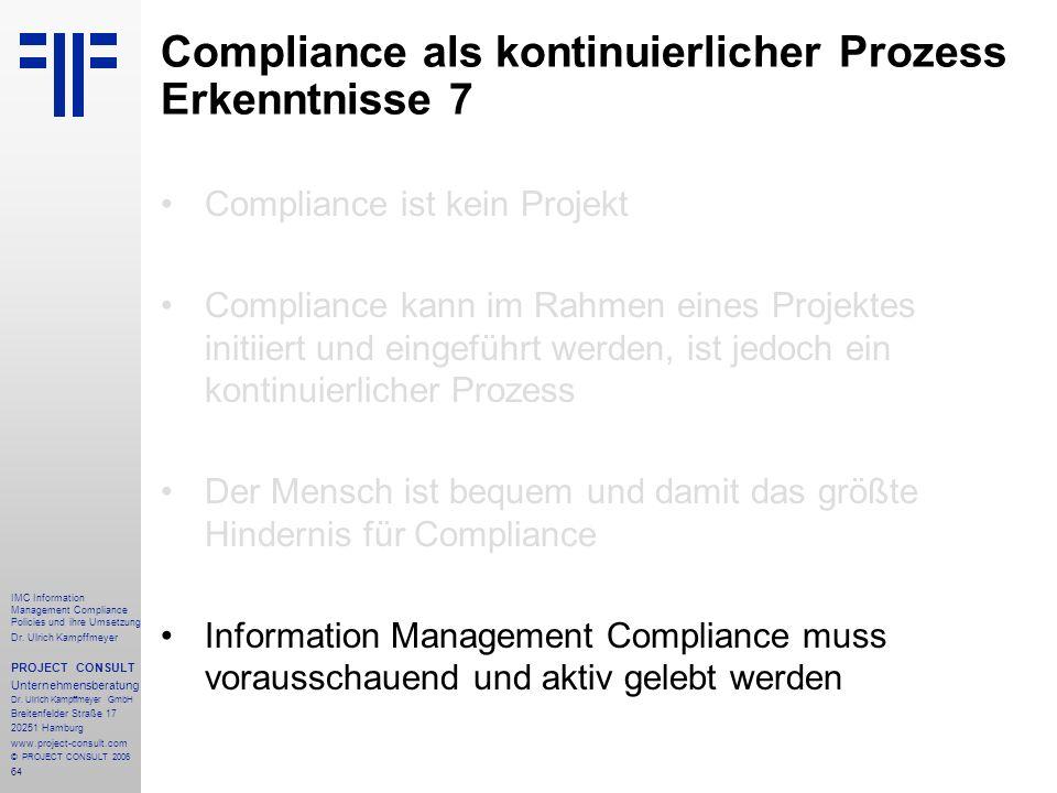 Compliance als kontinuierlicher Prozess Erkenntnisse 7