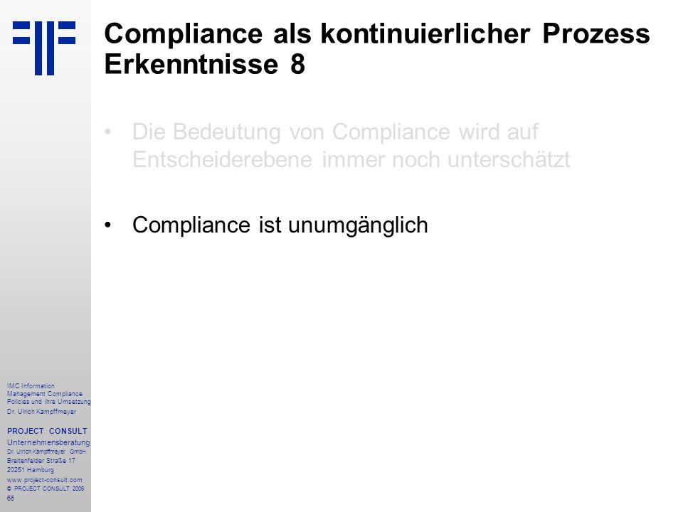 Compliance als kontinuierlicher Prozess Erkenntnisse 8