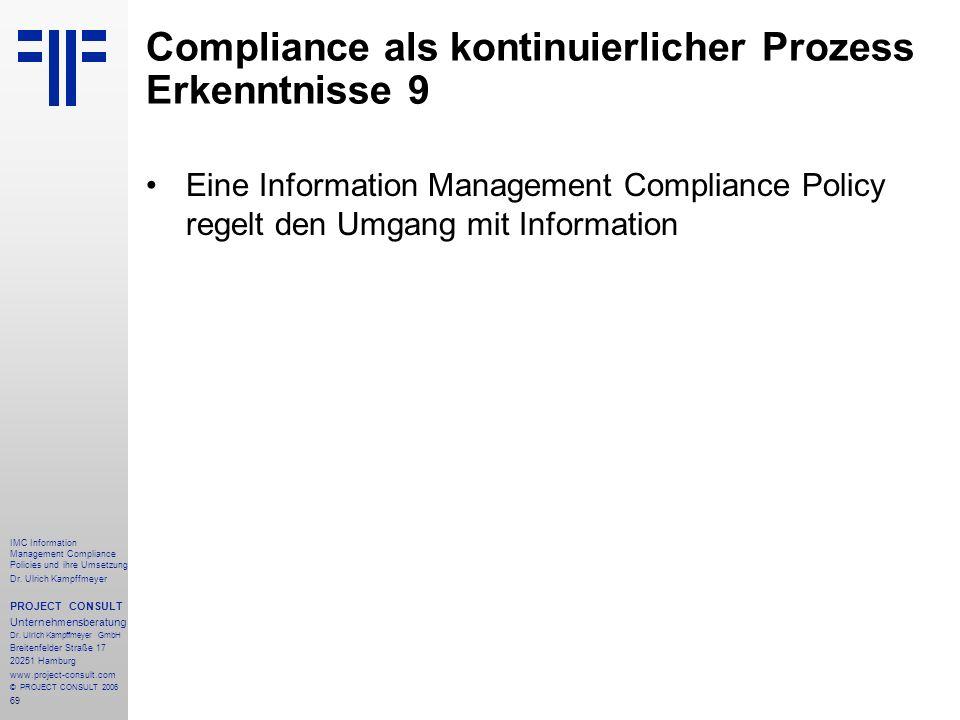 Compliance als kontinuierlicher Prozess Erkenntnisse 9