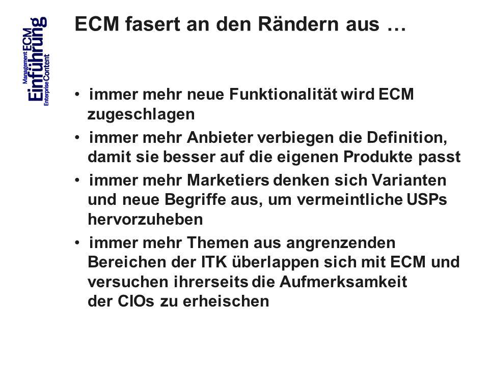 ECM fasert an den Rändern aus …