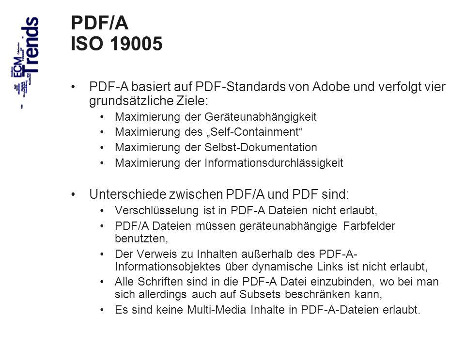 PDF/A ISO 19005 PDF-A basiert auf PDF-Standards von Adobe und verfolgt vier grundsätzliche Ziele: Maximierung der Geräteunabhängigkeit.