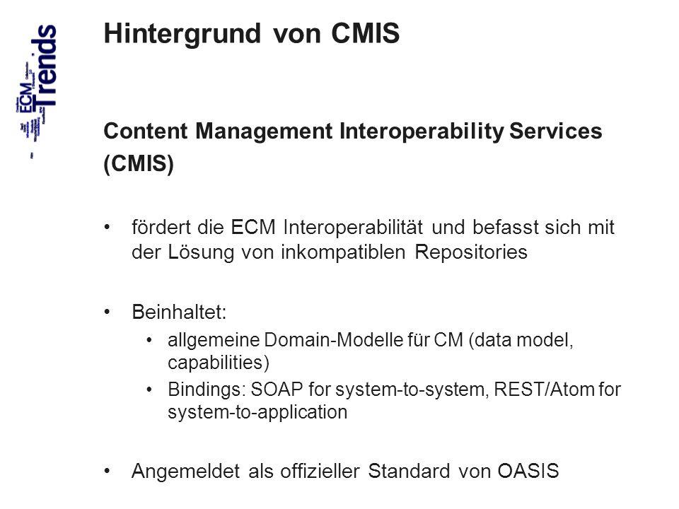 Hintergrund von CMIS Content Management Interoperability Services