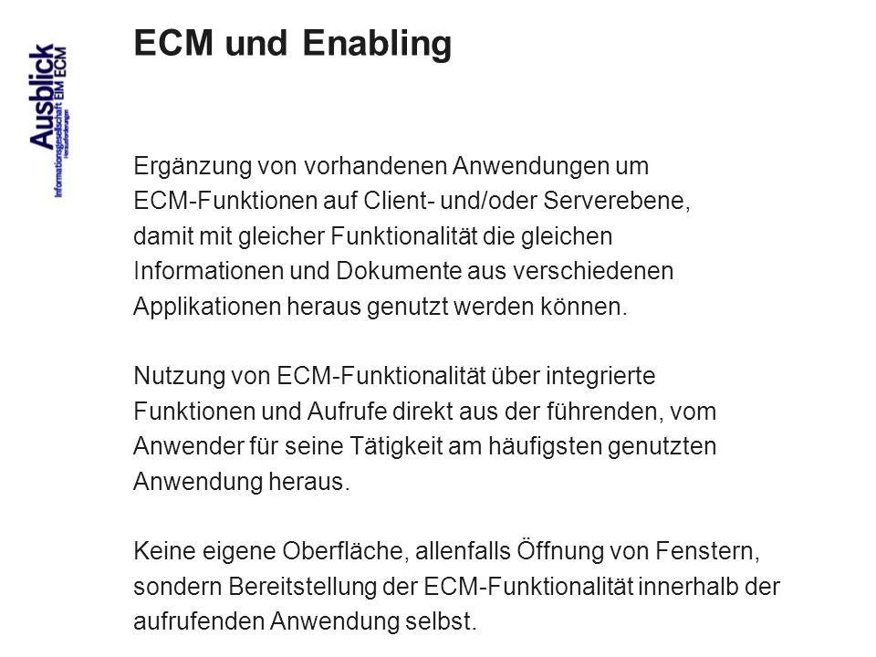ECM und Enabling Ergänzung von vorhandenen Anwendungen um