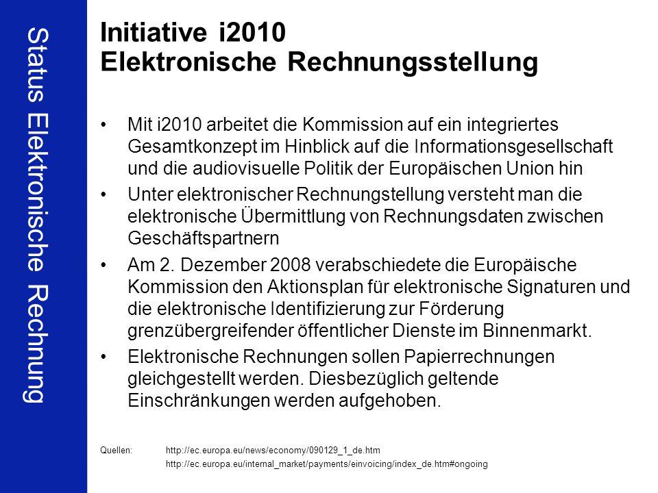 Initiative i2010 Elektronische Rechnungsstellung