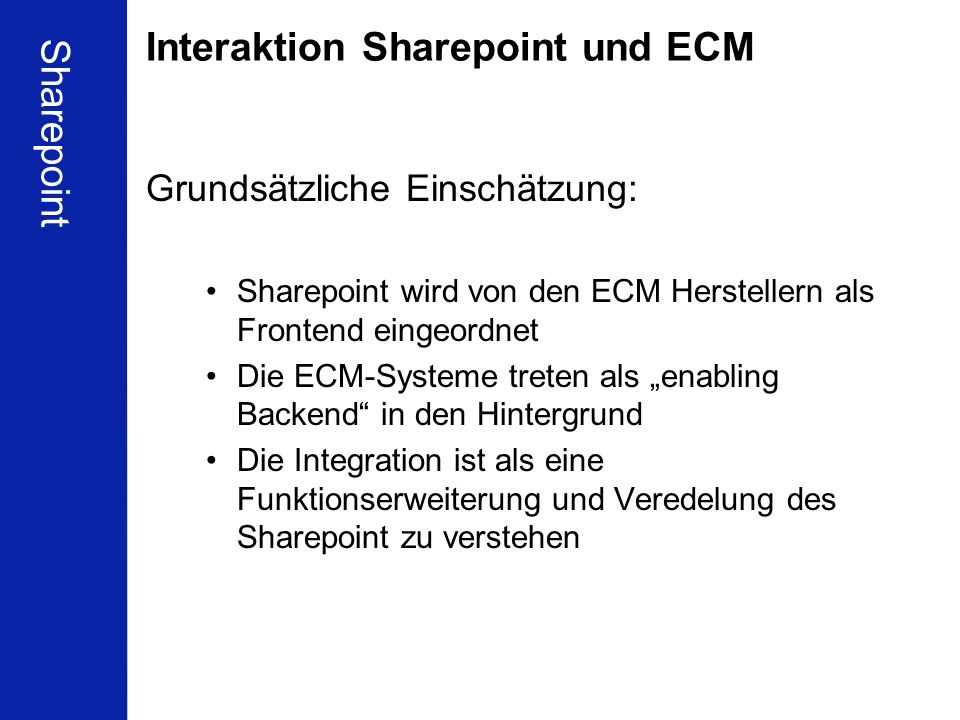 Interaktion Sharepoint und ECM