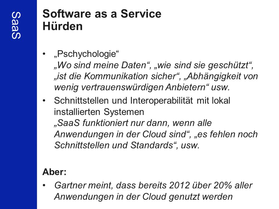 Software as a Service Hürden