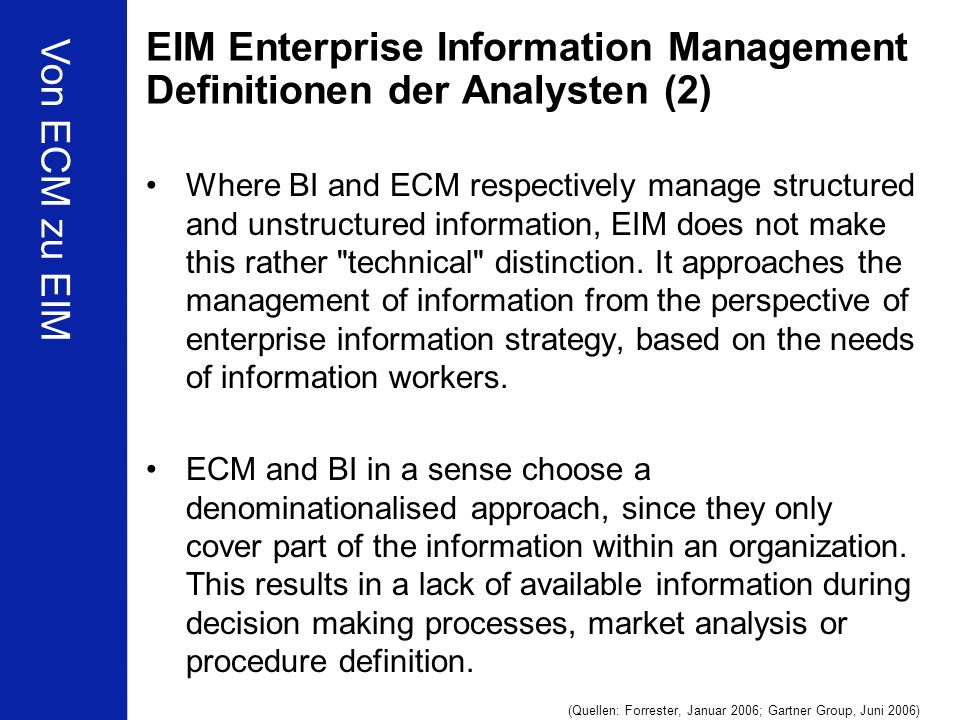 EIM Enterprise Information Management Definitionen der Analysten (2)