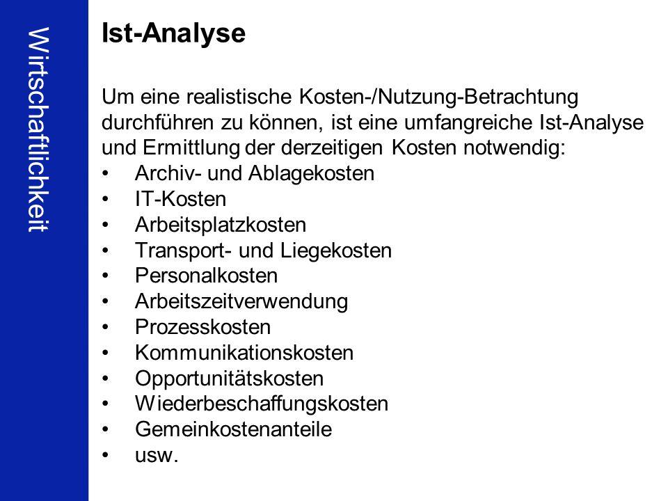 Ist-Analyse Wirtschaftlichkeit