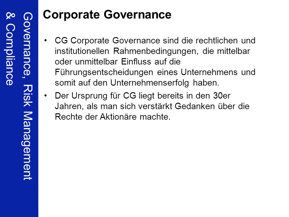 Governance, Risk Management & Compliance