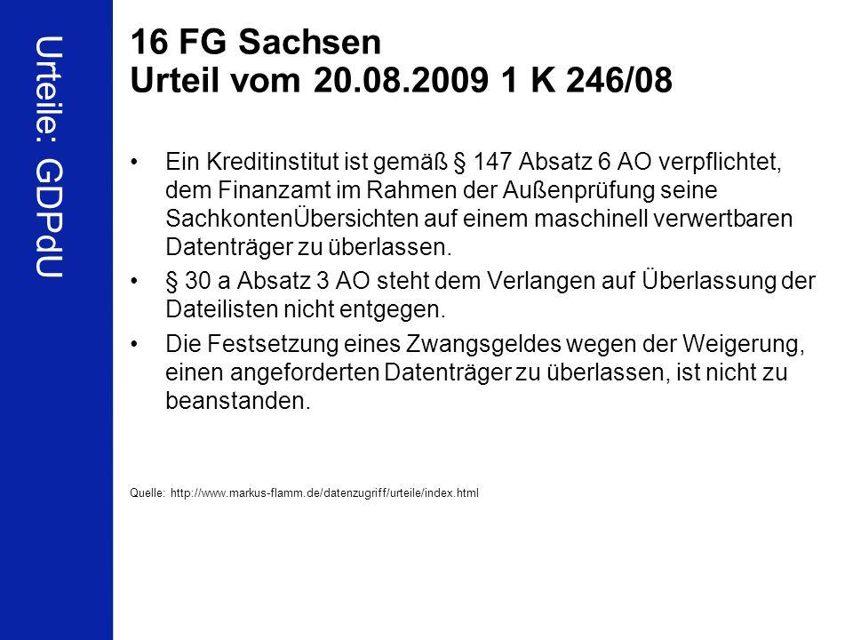 16 FG Sachsen Urteil vom 20.08.2009 1 K 246/08