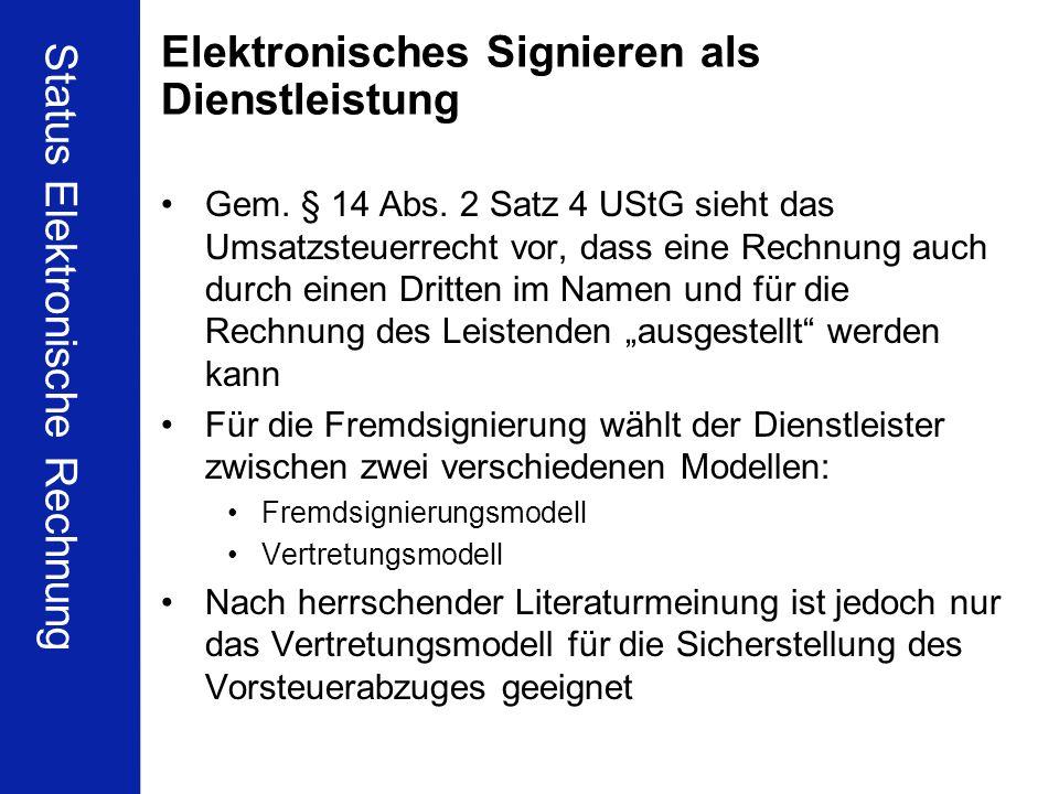 Elektronisches Signieren als Dienstleistung