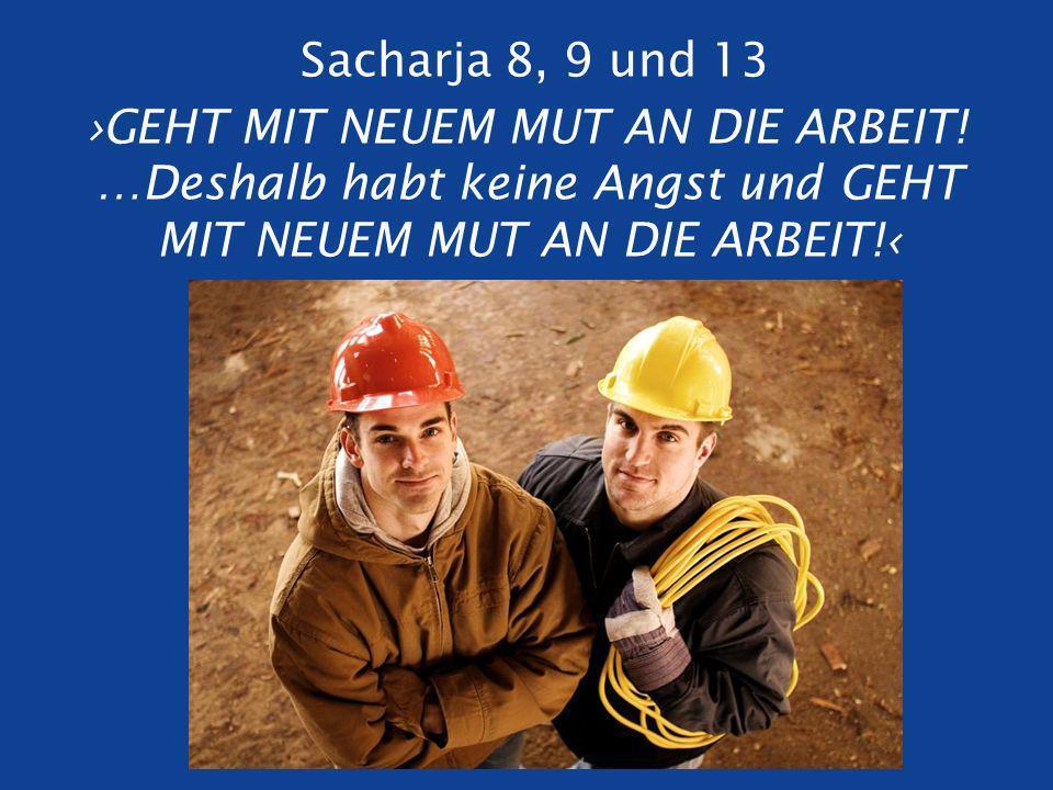 Sacharja 8, 9 und 13 ›GEHT MIT NEUEM MUT AN DIE ARBEIT.
