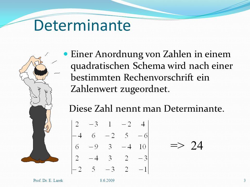 Determinante Einer Anordnung von Zahlen in einem quadratischen Schema wird nach einer bestimmten Rechenvorschrift ein Zahlenwert zugeordnet.