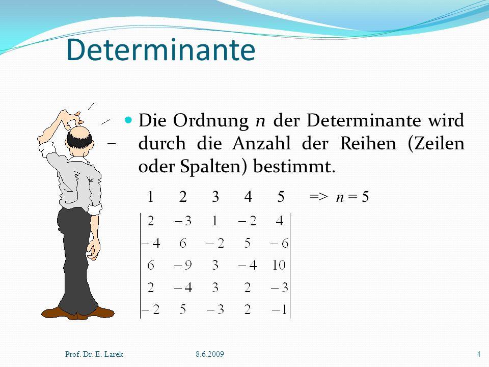 Determinante Die Ordnung n der Determinante wird durch die Anzahl der Reihen (Zeilen oder Spalten) bestimmt.