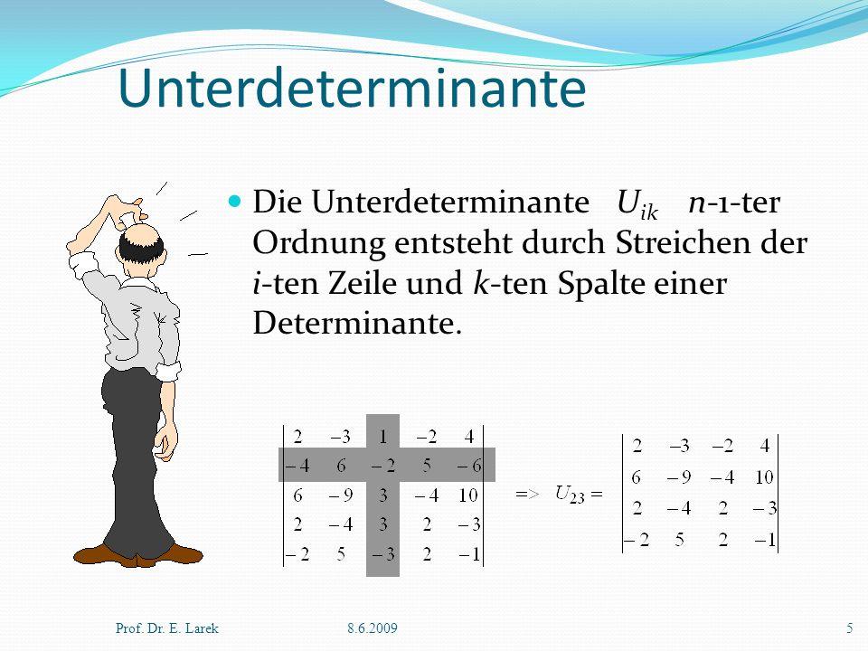 Unterdeterminante Die Unterdeterminante Uik n-1-ter Ordnung entsteht durch Streichen der i-ten Zeile und k-ten Spalte einer Determinante.