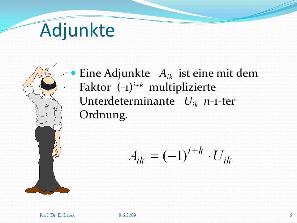 Adjunkte Eine Adjunkte Aik ist eine mit dem Faktor (-1)i+k multiplizierte Unterdeterminante Uik n-1-ter Ordnung.
