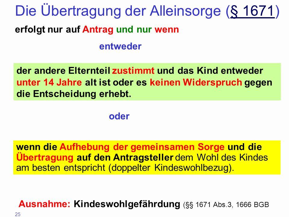 Die Übertragung der Alleinsorge (§ 1671)