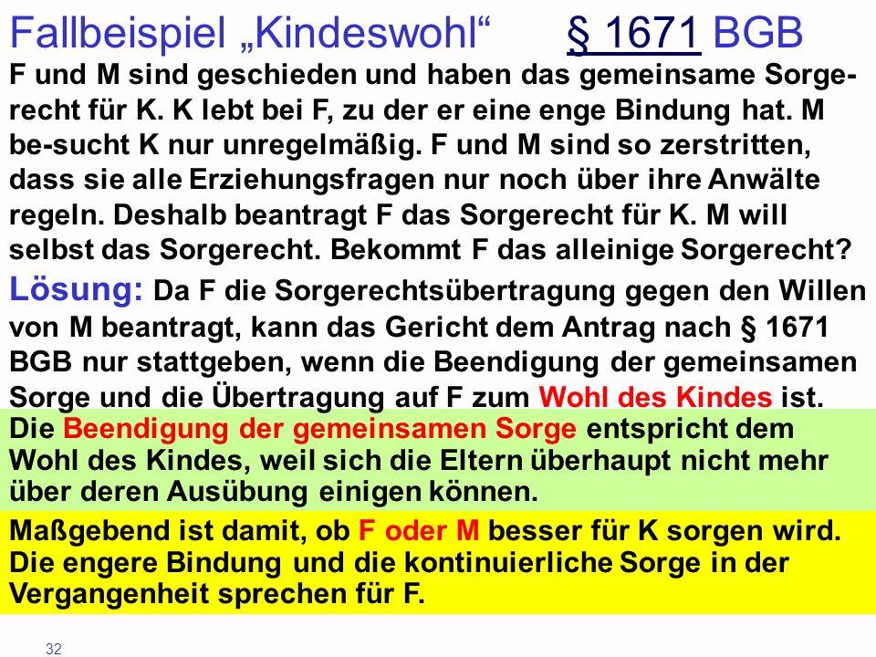 """Fallbeispiel """"Kindeswohl § 1671 BGB"""