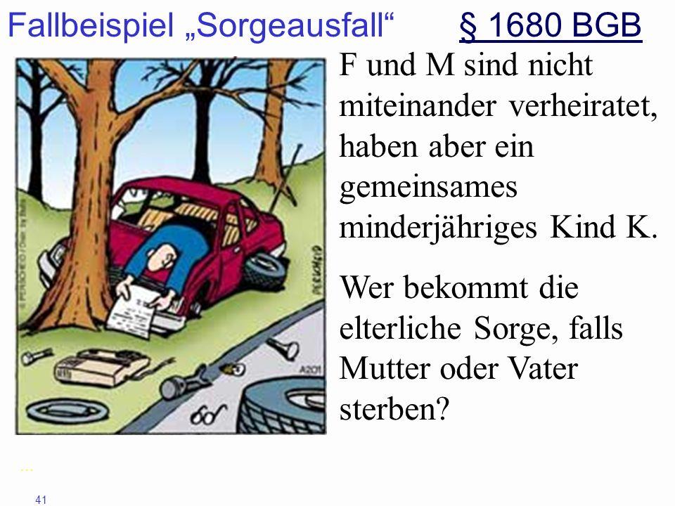 """Fallbeispiel """"Sorgeausfall § 1680 BGB"""