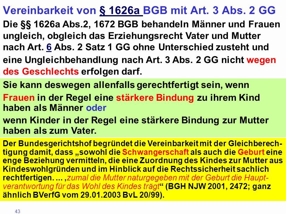 Vereinbarkeit von § 1626a BGB mit Art. 3 Abs. 2 GG