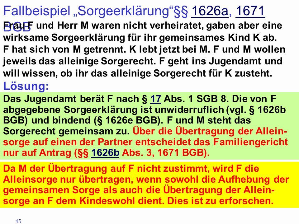 """Fallbeispiel """"Sorgeerklärung §§ 1626a, 1671 BGB"""