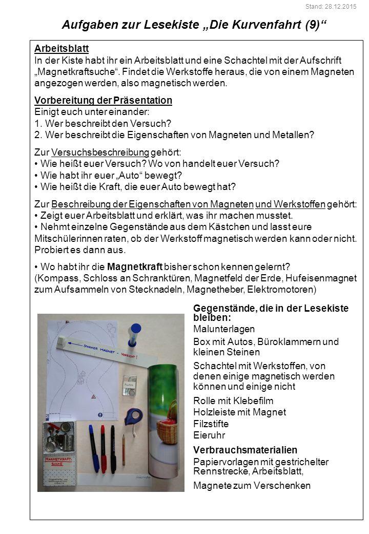 """Aufgaben zur Lesekiste """"Die Kurvenfahrt (9)"""
