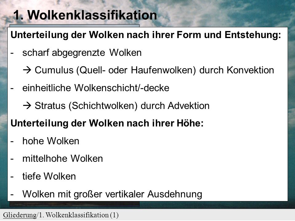 1. Wolkenklassifikation