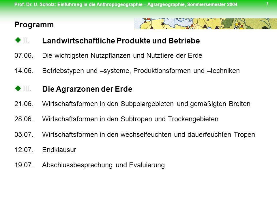 Landwirtschaftliche Produkte und Betriebe