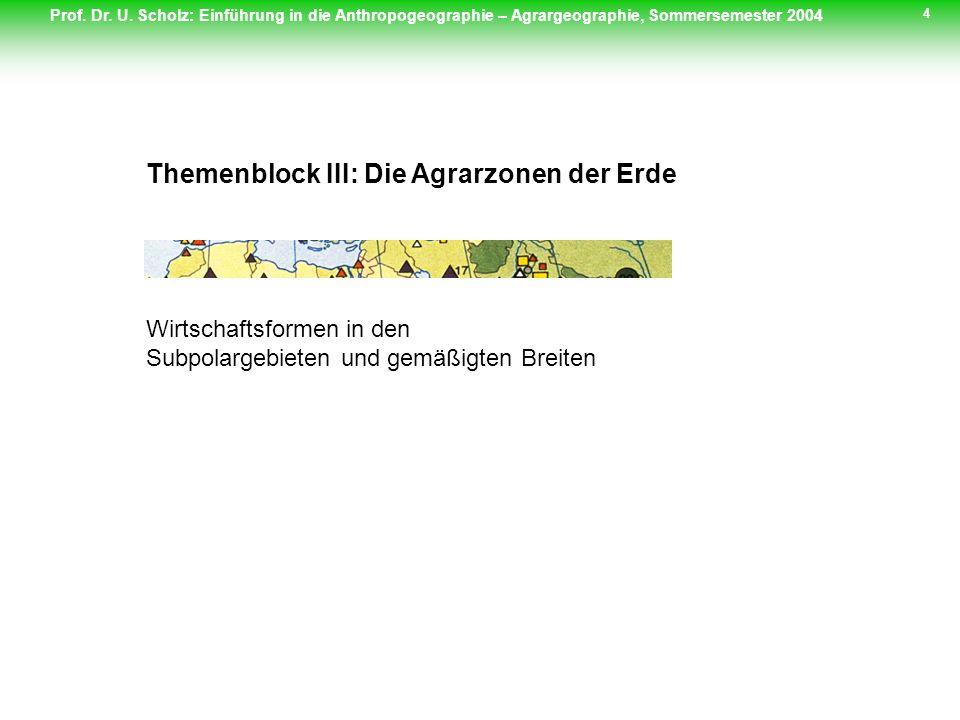 Themenblock III: Die Agrarzonen der Erde
