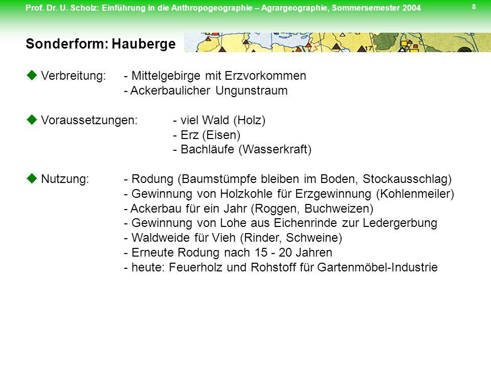 Sonderform: Hauberge  Verbreitung: - Mittelgebirge mit Erzvorkommen - Ackerbaulicher Ungunstraum.