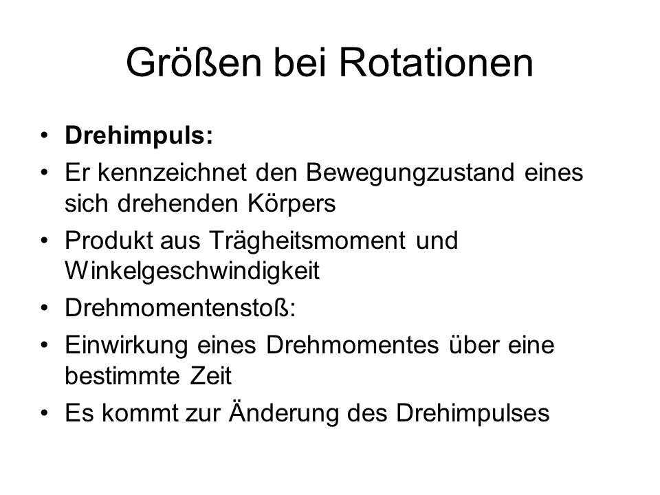 Größen bei Rotationen Drehimpuls: