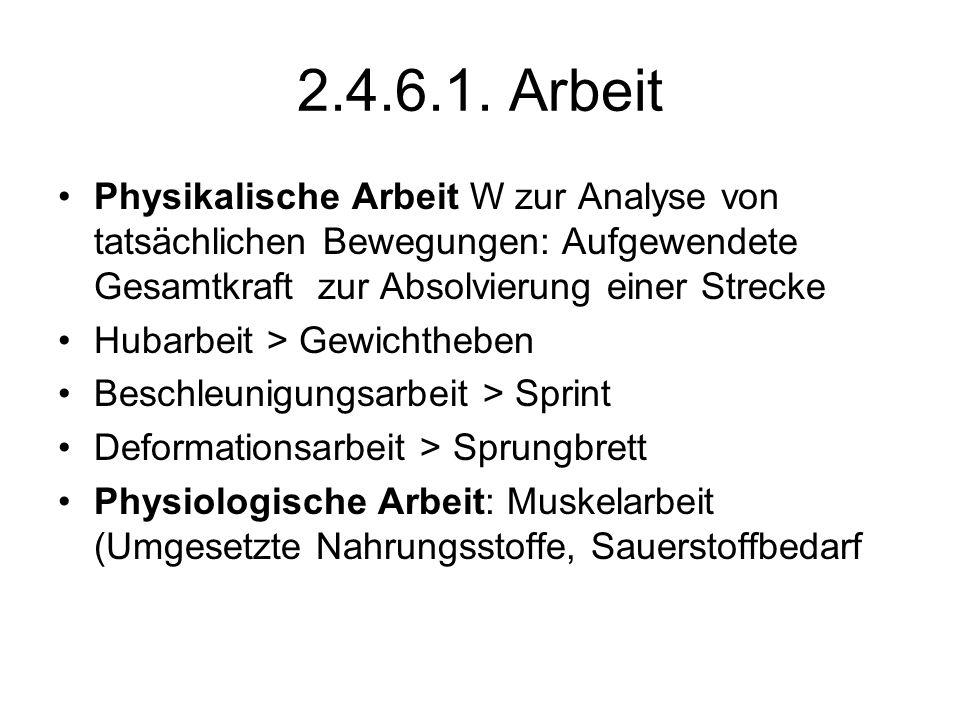 2.4.6.1. Arbeit Physikalische Arbeit W zur Analyse von tatsächlichen Bewegungen: Aufgewendete Gesamtkraft zur Absolvierung einer Strecke.