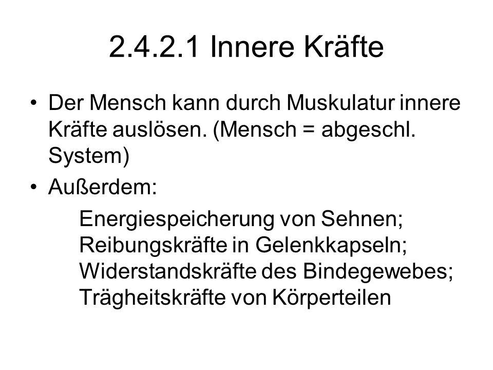 2.4.2.1 Innere Kräfte Der Mensch kann durch Muskulatur innere Kräfte auslösen. (Mensch = abgeschl. System)