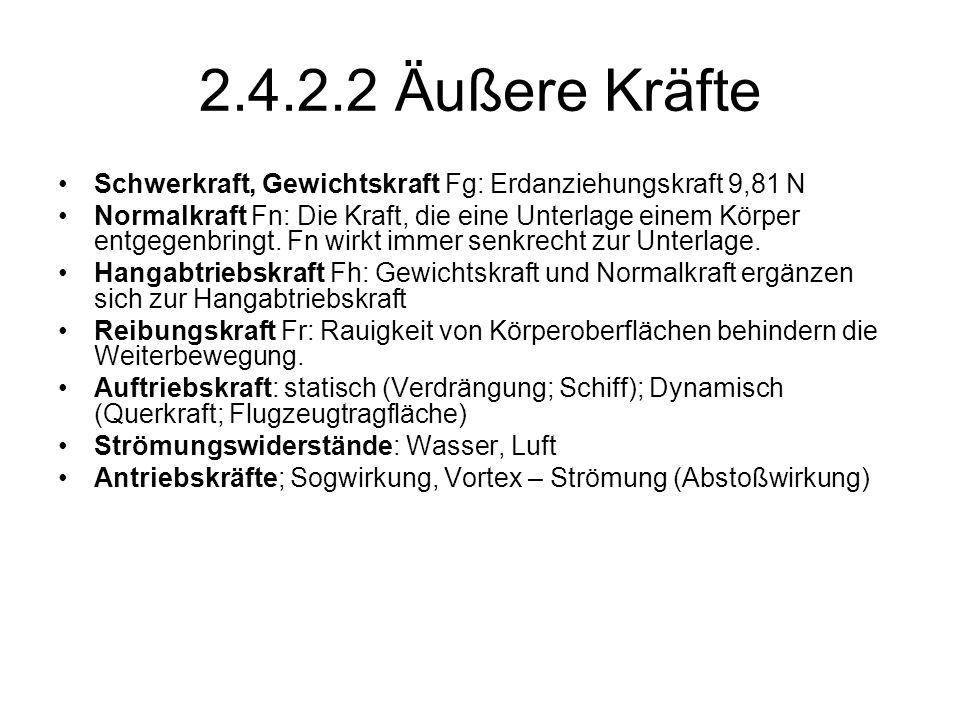 2.4.2.2 Äußere Kräfte Schwerkraft, Gewichtskraft Fg: Erdanziehungskraft 9,81 N.