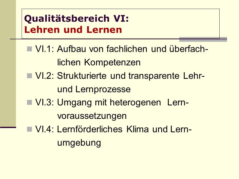 Qualitätsbereich VI: Lehren und Lernen