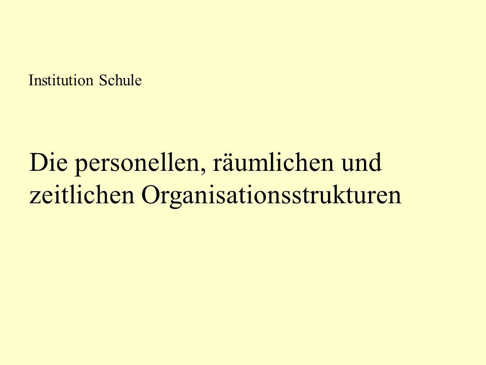 Die personellen, räumlichen und zeitlichen Organisationsstrukturen