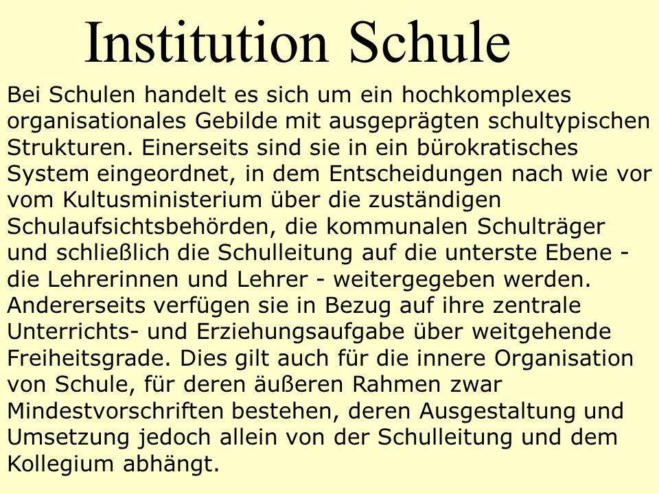 Institution Schule
