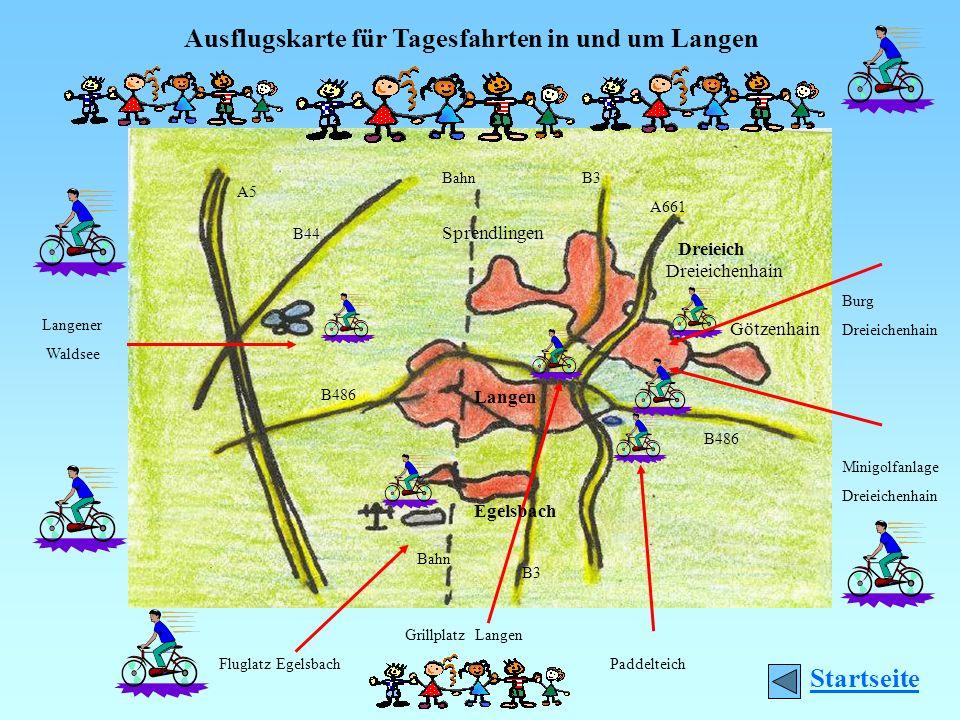 Ausflugskarte für Tagesfahrten in und um Langen