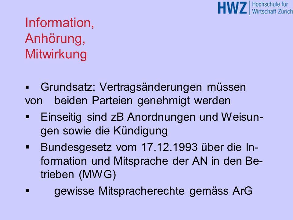 Information, Anhörung, Mitwirkung