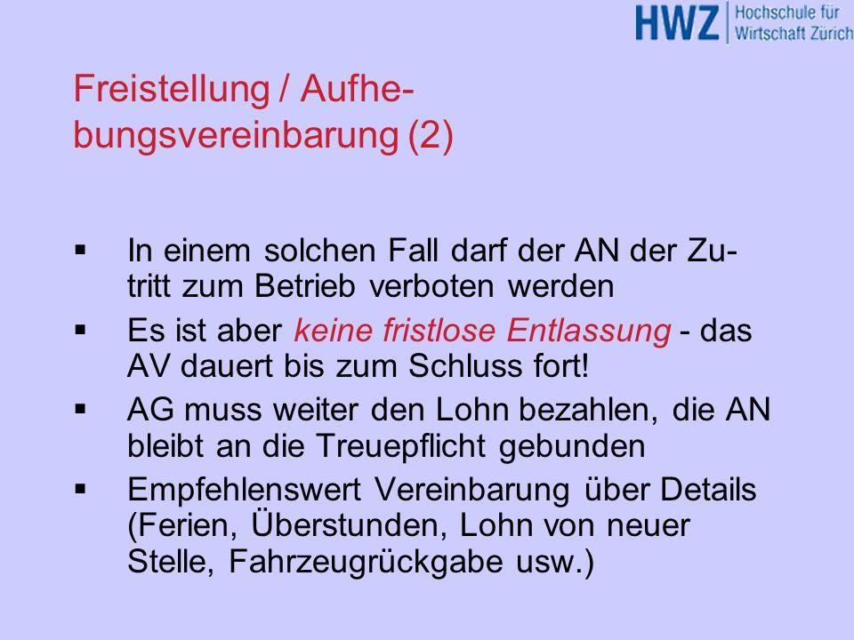 Freistellung / Aufhe-bungsvereinbarung (2)