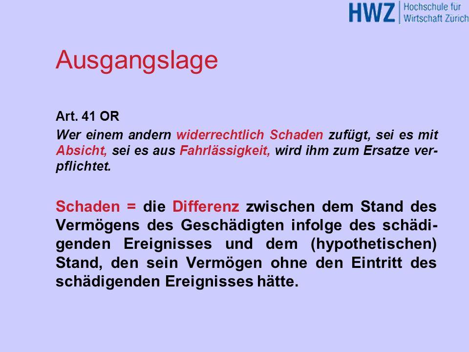 Ausgangslage Art. 41 OR.