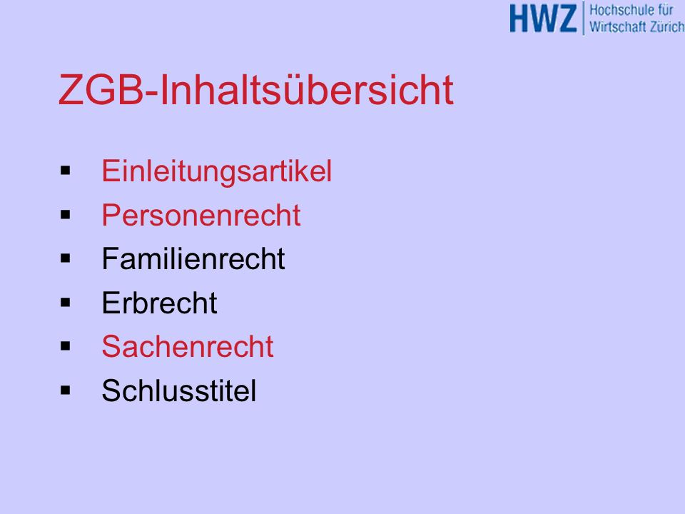 ZGB-Inhaltsübersicht