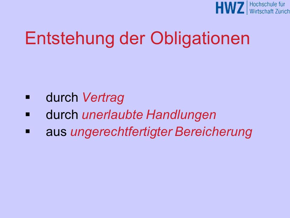 Entstehung der Obligationen