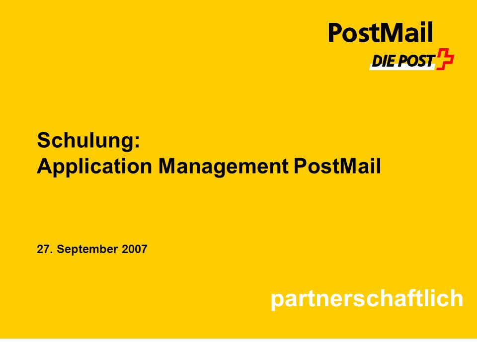 Schulung: Application Management PostMail